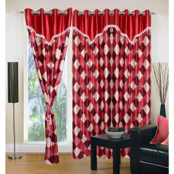 Homesazz Check Design Window Curtains(Set of 3) (DS076W), maroon