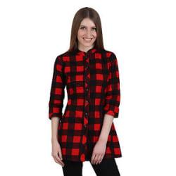 Vipakshi Women s Red Black Checkered Cotton Stylist Top Shirt (TOP-40 D)