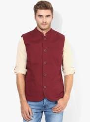 Maroon Cotton Waistcoat