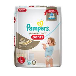 Pampers Premium Care Diaper Pants, Large (38 Count)
