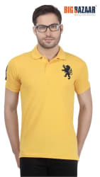 Spunk Solid Men s Yellow Polo T-Shirt