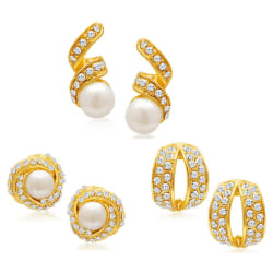 Sukkhi Divine Gold Plated Alloy Set of 3 Stud Earrings Combo (EarringCombo01)
