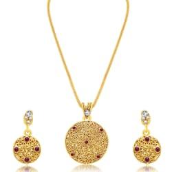 Sukkhi Stunning Gold Plated Ad Reversible Pendant Set For Women (4521PSGLDPP750)