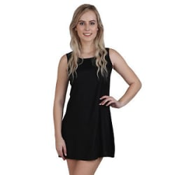 Vipakshi Women s Black Plain Sleeveless Rayon Summer Short Party Dress (DR-82 A)
