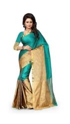 Jaanvi Fashion Designer Green PolyCotton Silk Saree
