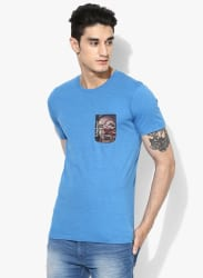 Blue Solid Slim Fit Round Neck T-Shirt