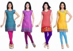 Trendbend Combo Of 4 Cotton Kurtis, xl, multicolor