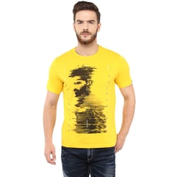 Printed Round Neck T-Shirt,S,Yellow