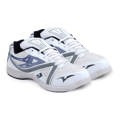 Columbus Jogger Shoes and 3 Pair Of Socks combo, white navy, 9
