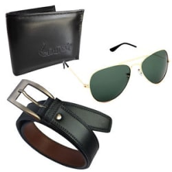 Elgator Men s Belt, Wallet & Aviator Sunglass Combo (Blkwlt-812BlkBlt-Goldgreen)