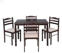 RoyalOak Hunter Solid Wood 4 Seater Dining Set (Finish Color - Black,Brown)
