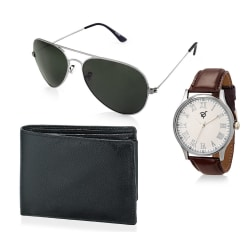 Rico Sordi Set of Mens Watch with Sunglass and Wallet RSD12-WSGW, brown, white