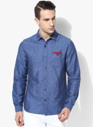 Blue Printed Slim Fit Casual Shirt