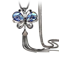 Yutii Antique Style Butterfly Blue Crystal Long Chain Pendant Tassel Necklace for Girls and Women