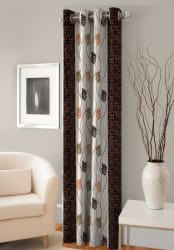 Fashion Fab Polyester Door Curtain 153 cm (5 ft) Single Curtain (Printed Brown)