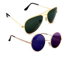 Combo Of Sunglasses With Green Aviator And Vintage Gandhi Style In Multi Shade
