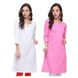 Vipakshi Women s Solid White & Pink Cotton Combo Kurti (Pack of 2) (PA-20 A)