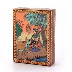Little India Gemstone Meera Painting Wooden Jewellery Box (256, Brown)