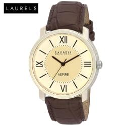 Laurels Aspire Ivory Dial Men Watch (Lo-Asp-101), brown, beige