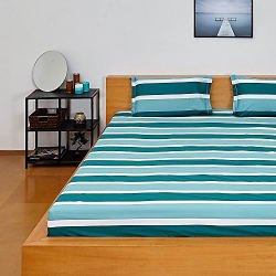 Amazon Brand - Solimo Silk Finish Nautical Stripe 180 TC 100% Cotton Double Bedsheet with 2 Pillow Covers - Green
