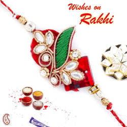 Aapno Rajasthan Kundan Studded Beautiful Zardosi Rakhi, set of 2 rakhi with 200 gm kaju katli