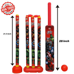 Itoys Marvel Avengers Cricket Set With 4 Wickets-Big Size, red