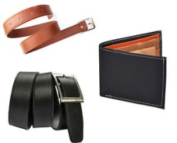 Combo of Black belt, black wallet and Tan Belt at Best Price with free shipping