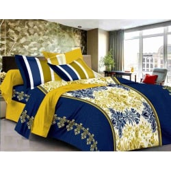 Welhouse India Cotton King Size 1 Double Bedsheet With 2 Pillow Covers (TR_ LV-001)
