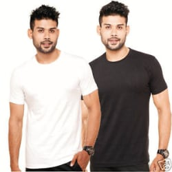 Plain Round Neck T-Shirt Black and White Color Combo Pack of 2