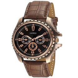 Laurels Original Copper Analog Black Dial Leather Strap Men s Watch - Lo-Cp-101