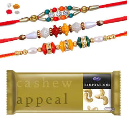 Maalpani Premium Bracelet N Multi Color Bracelet Rakhi Pack Of Three With Temptation Cashew Appeal Chocolate-306