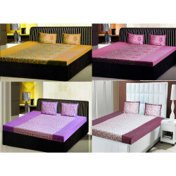 India Furnish Double Bedsheets With Pillow Covers Combo Of 4 Sets (IFBST15143), multicolor
