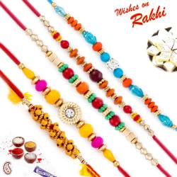 Aapno Rajasthan Set Of 5 Crystal Beads & Ad Studded Rakhi, rakhi with 200 gm kaju katli