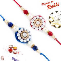 Aapno Rajasthan Set Of 2 Red & Blue Beautifully Jewelled Rakhi, only rakhi with 200 gms kaju katli