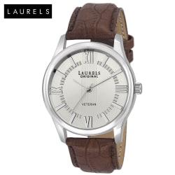 Laurels Veteran Silver Dial Men Watch (Lo-Vet-201), silver, brown