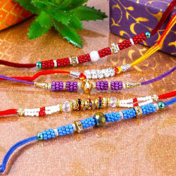 Giftacrossindia Multi Color Pearl Beads Rakhi