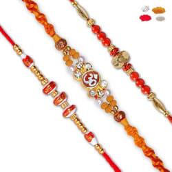 Maalpani Three Multicolor Bead Rakhi And Mauli Om Rakhi Set