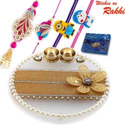 Aapno Rajasthan Charming Crystal Clear Base Floral Motif Rakhi Pooja Thali With Family Rakhi Set, only rakhi with cadbury celebrations 110 gms pack