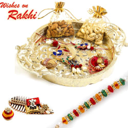 Aapno Rajasthan Gold Finish Traditional Dry Fruit Tray With Bhaiya Bhabhi Rakhi Set
