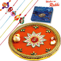 Aapno Rajasthan Beautiful Shree Pooja Thali & Chocolate Rakhi Hampers With Set Of 5 Rakhis