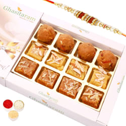 Punjabi Ghasitaram North Indian Mix In White Box With Oval Rudraksh Rakhi