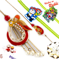 Aapno Rajasthan Pearl & Ad Studded Bhaiya Bhabhi Rakhis With 2 Kids Rakhis, rakhi with 200 gm kaju katli