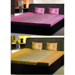 India Furnish Double Bedsheets With Pillow Covers Combo Of 2 Sets (IFBST15195), multicolor
