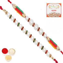 Punjabi Ghasitaram Set Of 2 Pearl Rakhi, only rakhi