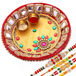 Creativity Centre Traditional Tikka Thali With Pearl And Beads Rakhis
