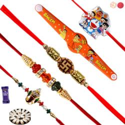 Siddhi Sales Rakhi Gift Set For Rakshabandhan - 5 Rakhis - 400 gm