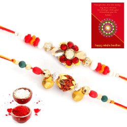 Halowishes Handcrafted Fancy Rakhi Pair N Greeting Card Gift