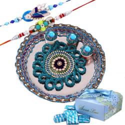 Creativity Centre Rakhi Tikka With Designer Thali And Assorted Chocolates