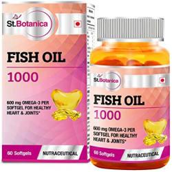 St.Botanica Fish Oil 1000 mg (Double Strength) with 600 mg Omega 3 (330mg EPA, 220mg DHA) - 60 Softgels