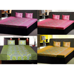 India Furnish Double Bedsheets With Pillow Covers Combo Of 4 Sets (IFBST15100), multicolor